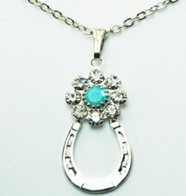 Crystal  Flower Horse Shoe Necklace
