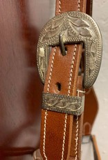 Western leather halter tooled with silver full size