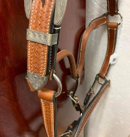 Western leather halter tooled with silver horse sz