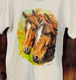 T Shirt 2 horse design - Unisex sizing