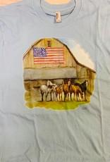 Adult T Shirt Flag and Barn design
