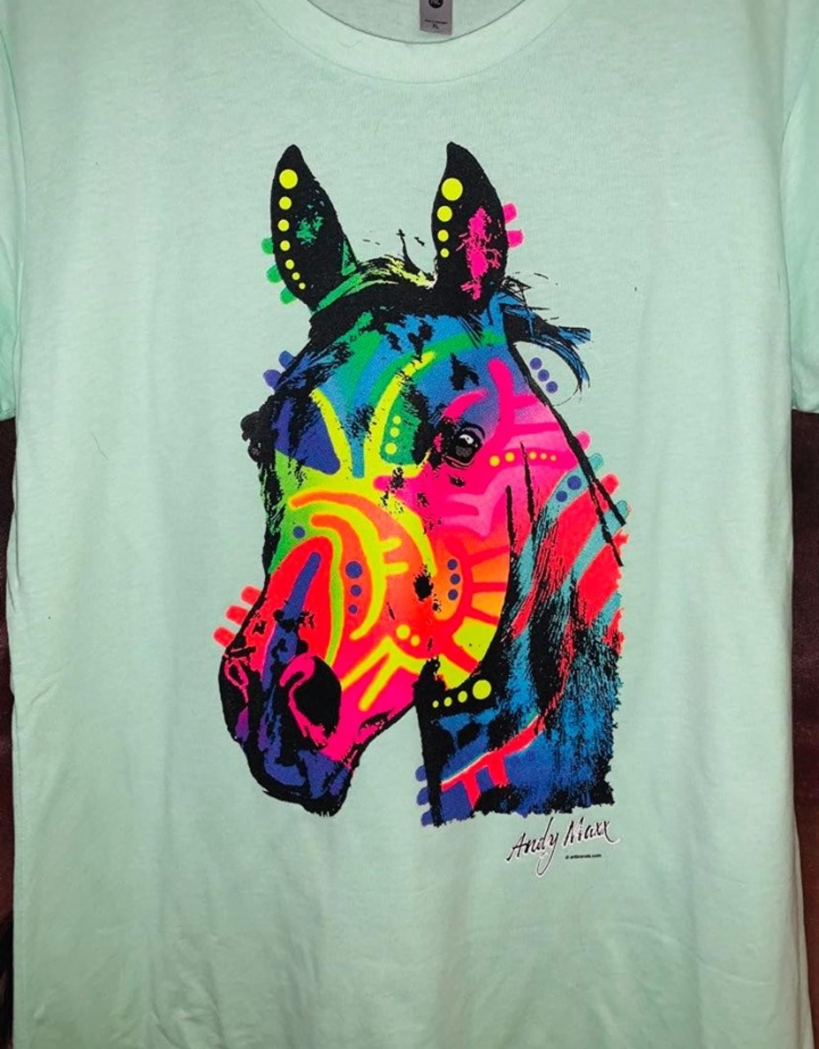 Colorful horse head t shirt
