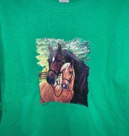 Kids Long Sleeve T Shirt 2 horses