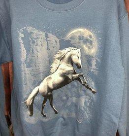 Sweat Shirt Adults White Horse design