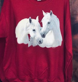 Adult crew neck sweatshirt w/ white horses