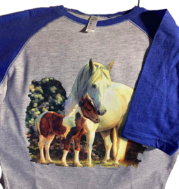 Child's long sleeve baseball tee with horses