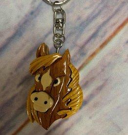 Wooden horse head keychain