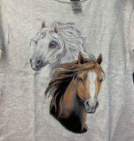 Child's T-shirt 2 horse heads white/chestnut