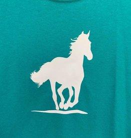 Child's T Shirt horse design white canter
