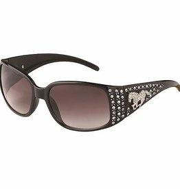 Sunglasses, Embellished Rhinestones & Galloping Horse - Black