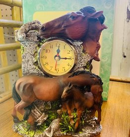 Mare and Foal Horse Clock