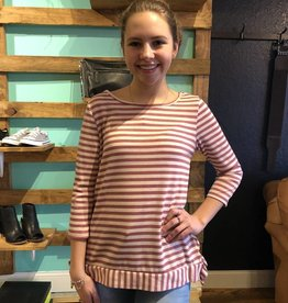 Red Lolly Stripe Knit Top W/ Ruffle Detail
