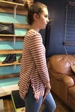 Red Lolly Stripe Knit Top W/ Ruffle Detail