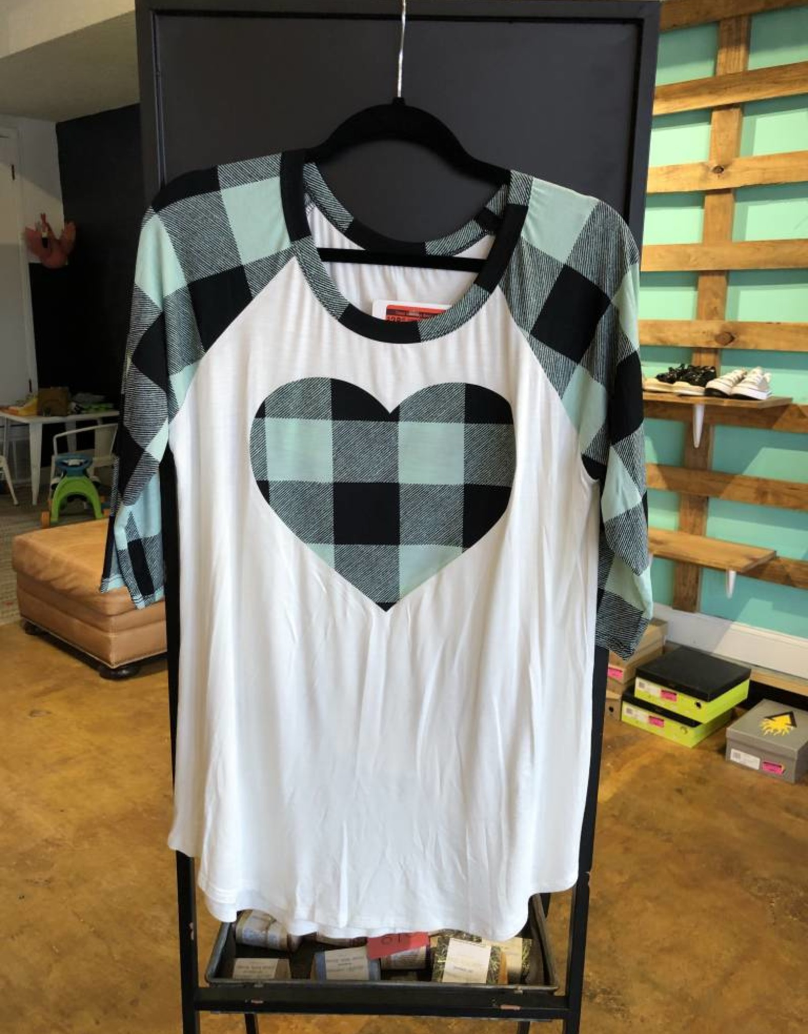 Buffalo Plaid Baseball Tee W/Enlarged Plaid Heart