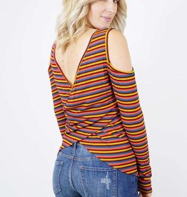 LS Striped Cold Shoulder Cross Back Top