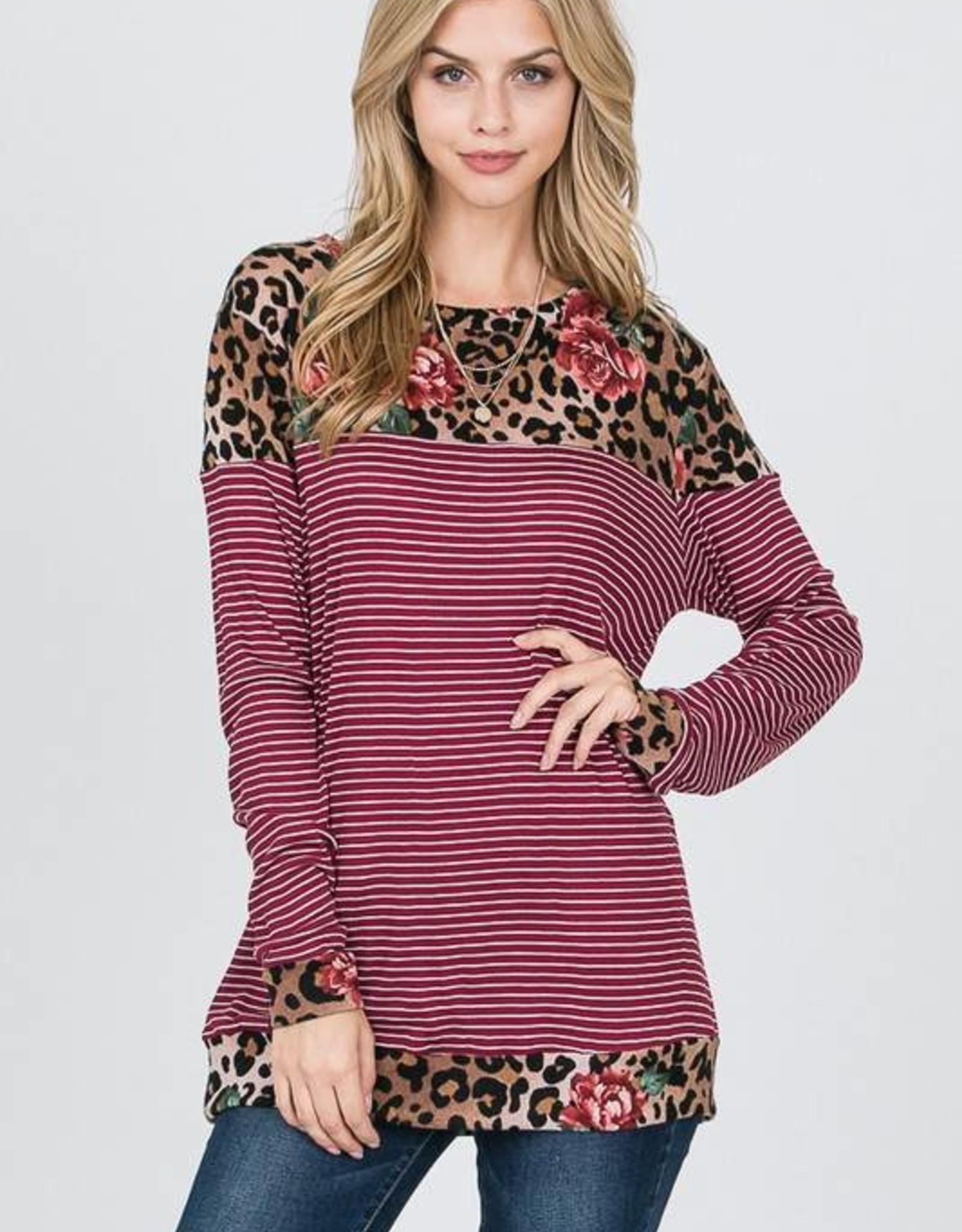 Floral Leopard LS Striped Top