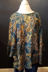 Holly Houx Teal Paisley LS Plus Size Blouse