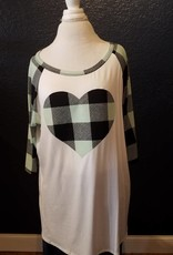 Plus Size Buffalo Plaid Baseball Tee W/Enlarged Plaid Heart