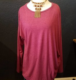 Plus Size Side Button Detail LS Top