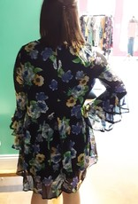 Floral Print Babydoll Dress W/Layered Ruffle Sleeves