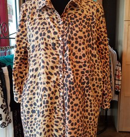 Fat Rat Silky Leopard Button Up Blouse