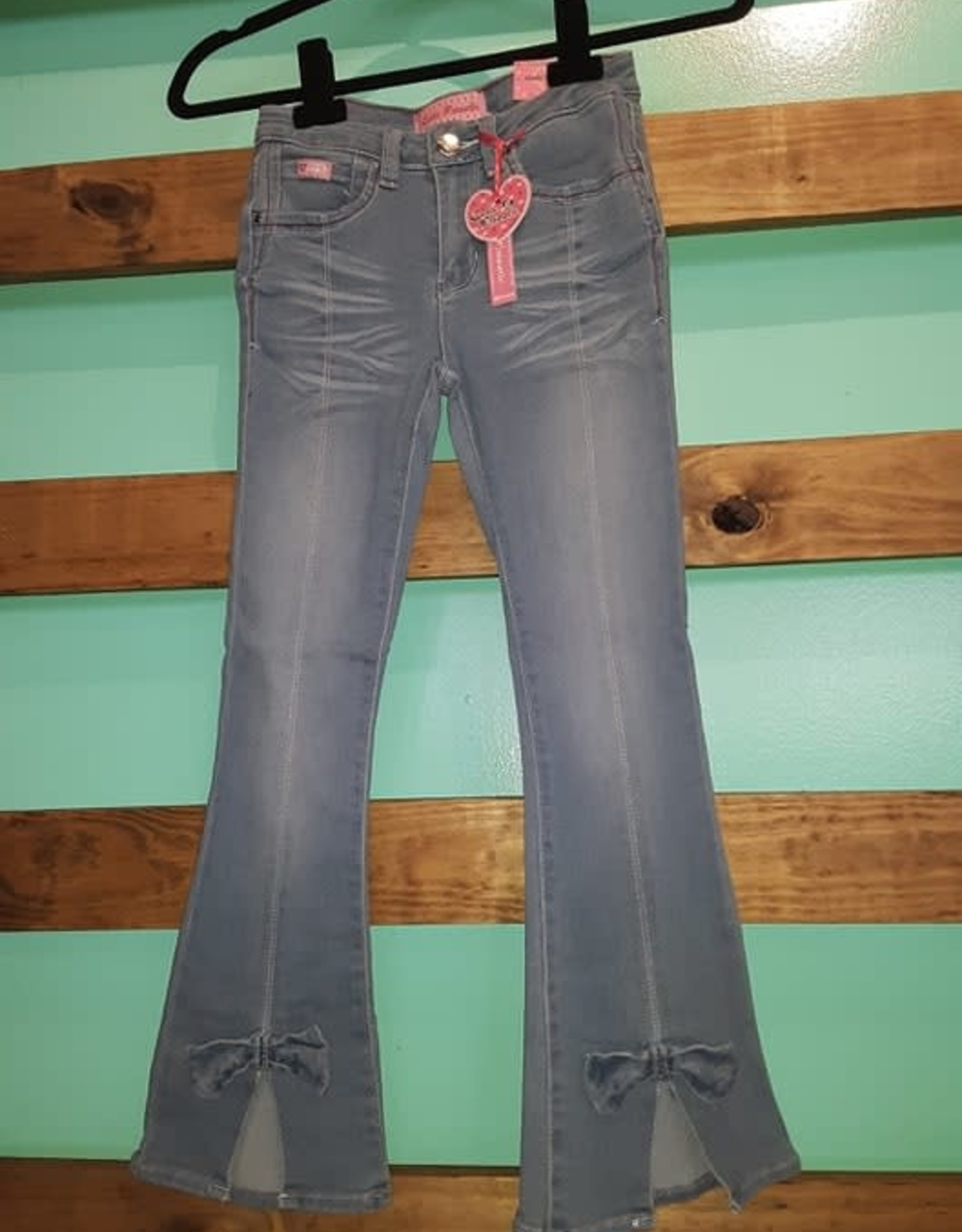 Cutie Patootie Girls Flair Wash Jeans With Front Bow Detail