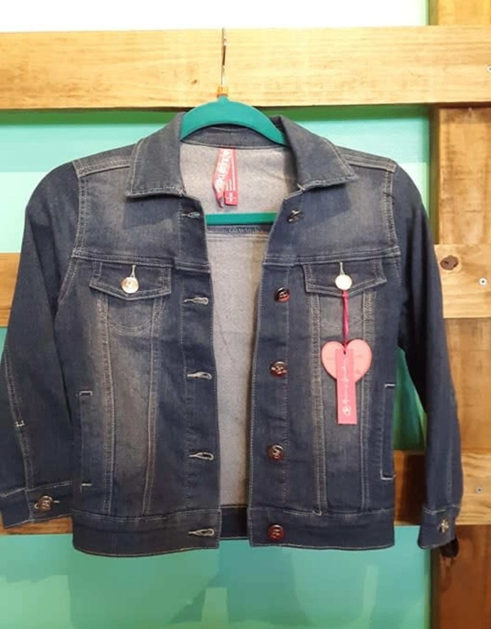 Pink Latte Girls Basic Wash Denim Jacket