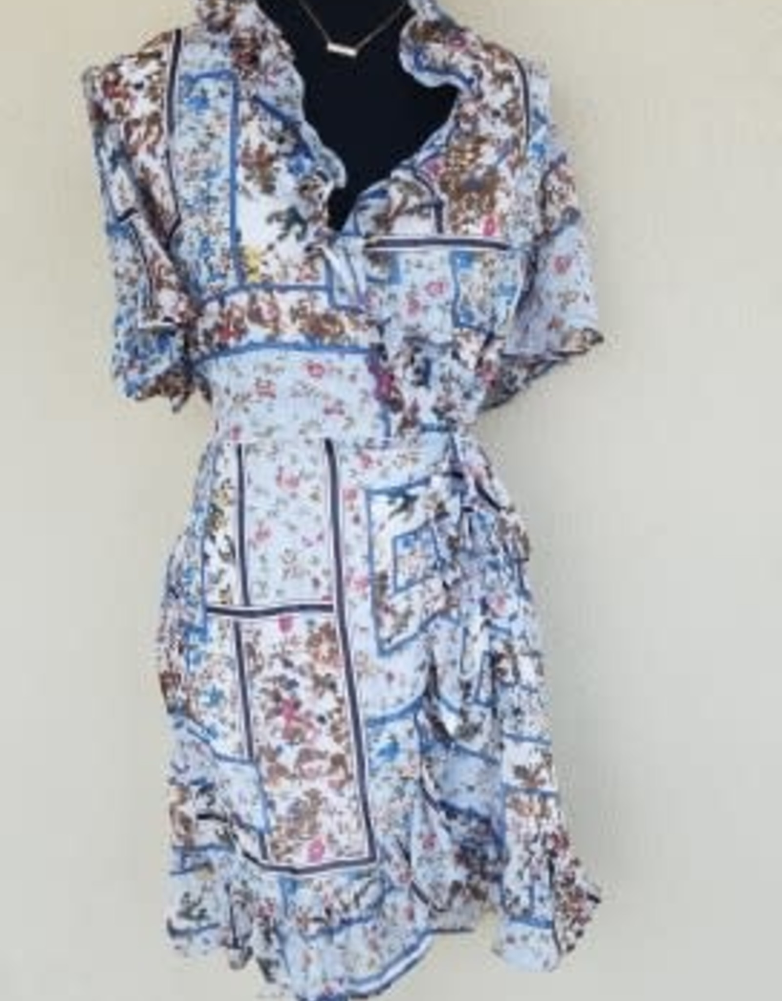 Available FLORAL V NECK SHORT SLEEVE FITTED WAIST DRESS