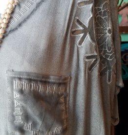 POL V neck short sleeve woven top