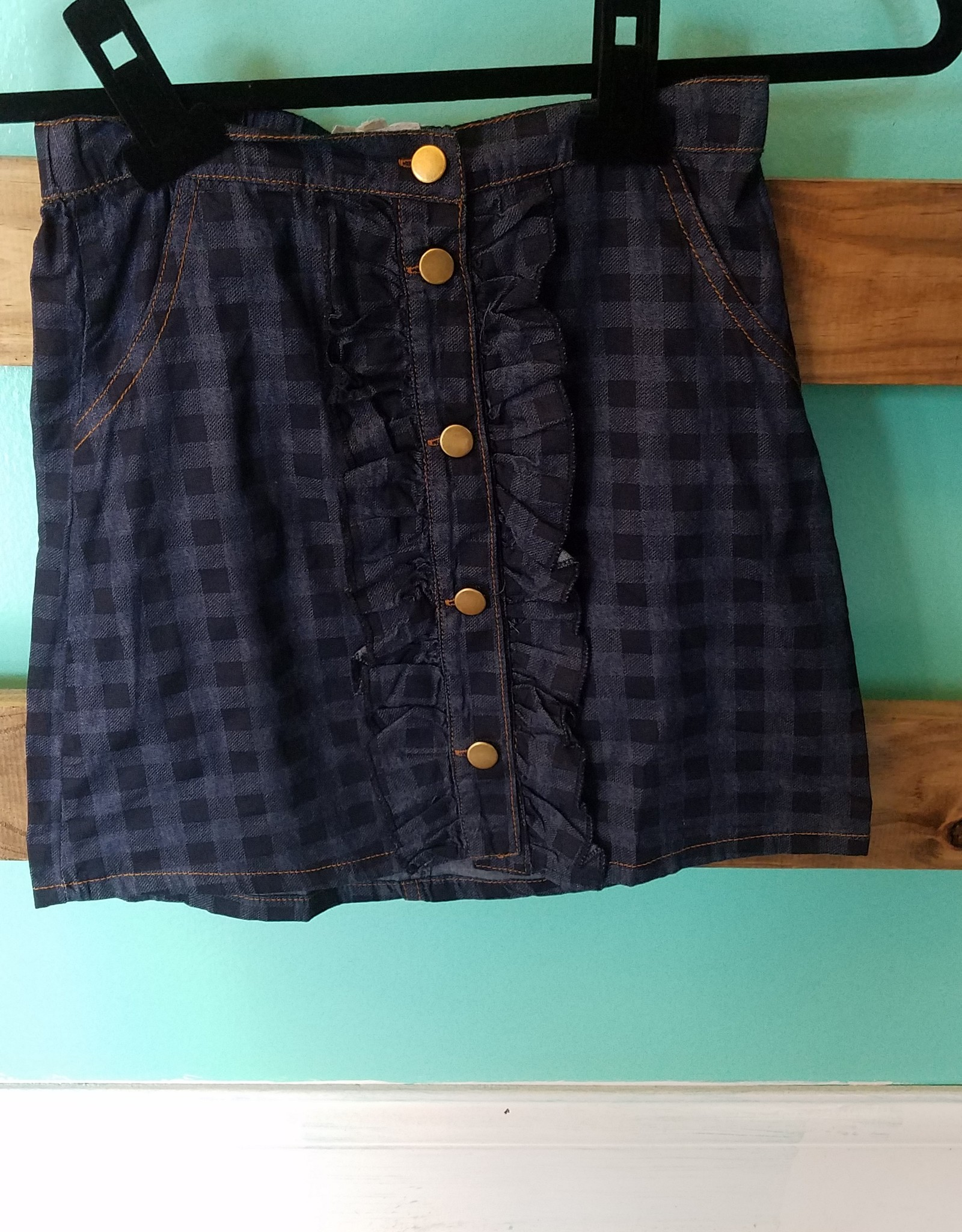 Girls Ruffle Detailed Plaid Skirt