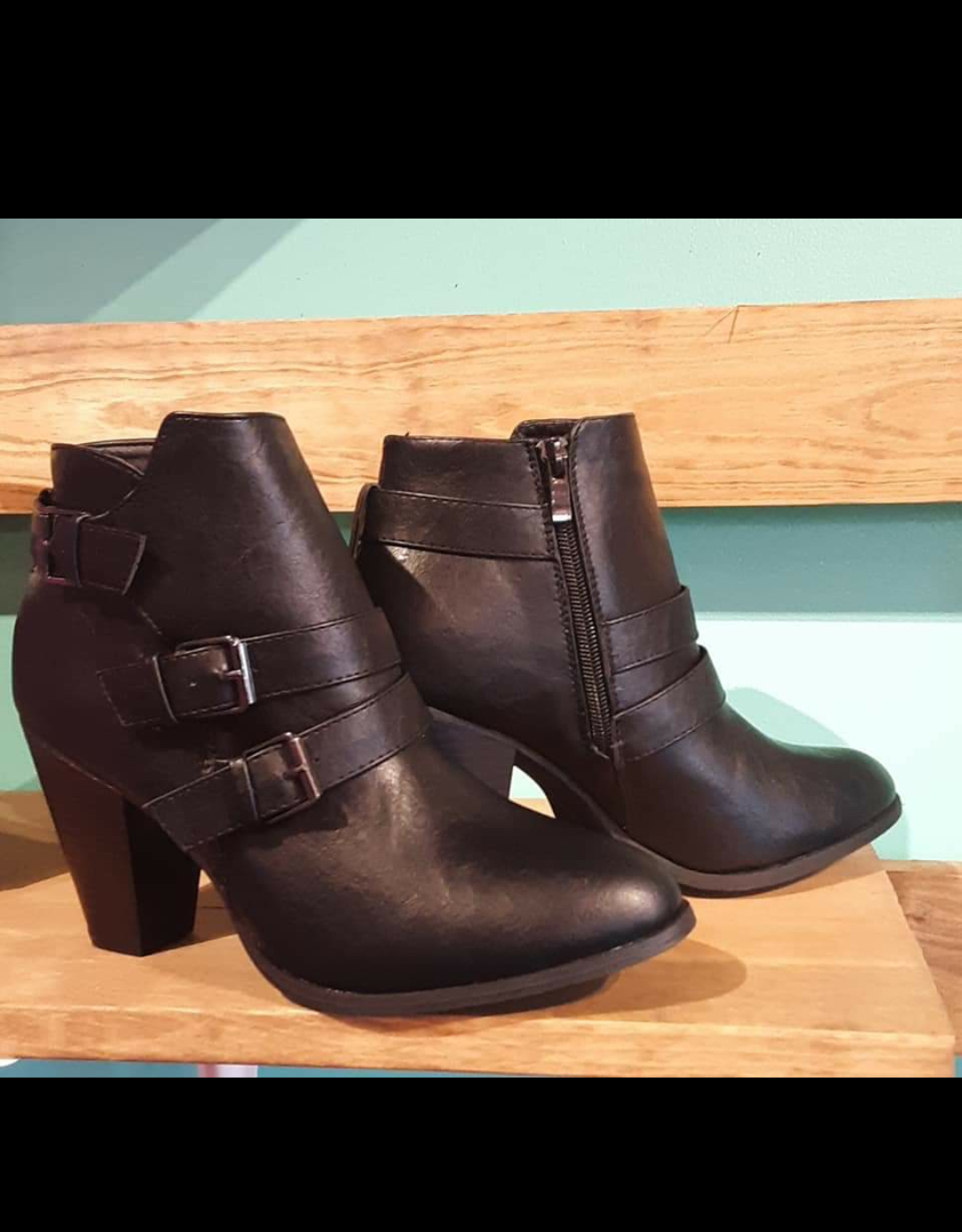 Buckle Accent Stacked Heel Back Zipper Booties