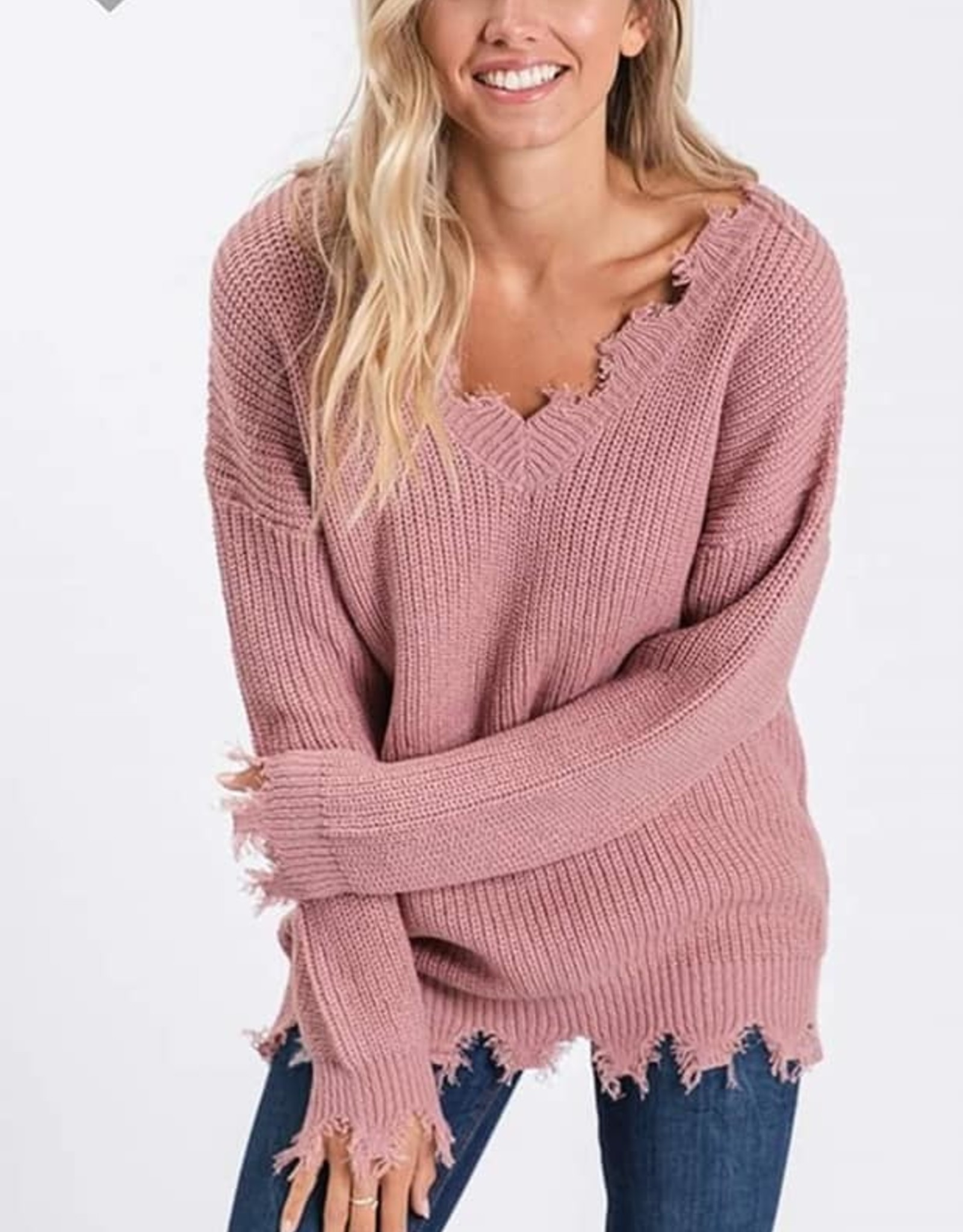 Distressed LS V-Neck Sweater
