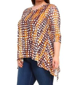 Jazz USA Animal Print 3/4 Sleeve Shark Bite Hem Plus Size Top