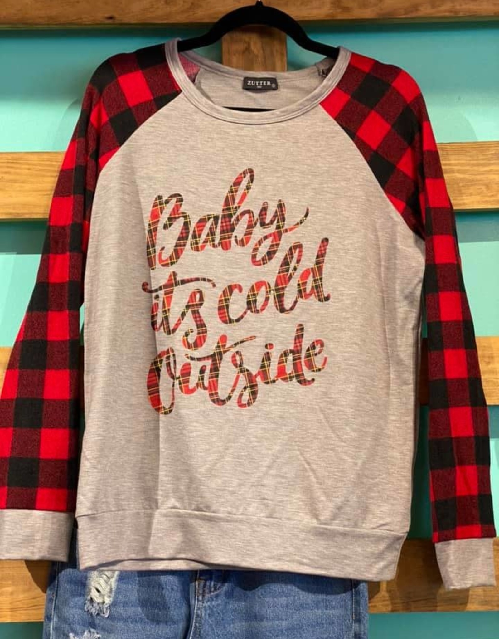 Zutter Buffalo Plaid LS Baby It's Cold Outside Lightweight Sweater