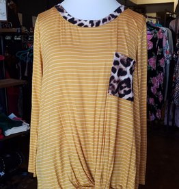 Rae Mode Striped/Animal print knotted LS Plus size top