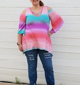 Tie Dye Cold Shoulder tunic