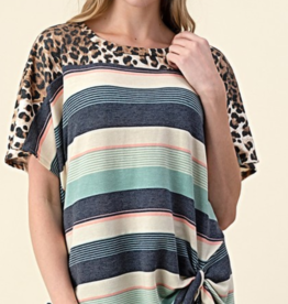 Clothing of America Stripped Leopard Knotted Front Tee
