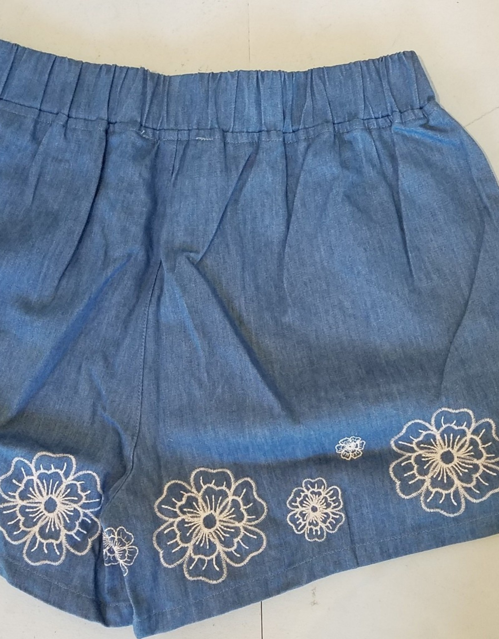 Floral Embroidered Elastic Waist Shorts