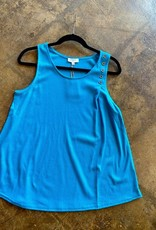 Ribbed Tank Top With Shoulder Button Detail