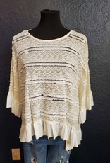 Crochet Bell Sleeve Top w/ruffle hi low hem