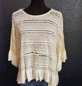 Crochet Bell Sleeve Top w/ruffle hi low hem
