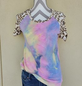 7th Ray Tie Dye Laser Cut Sleeve Top