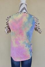 7th Ray Tie Dye Laser Cut Sleeve Top