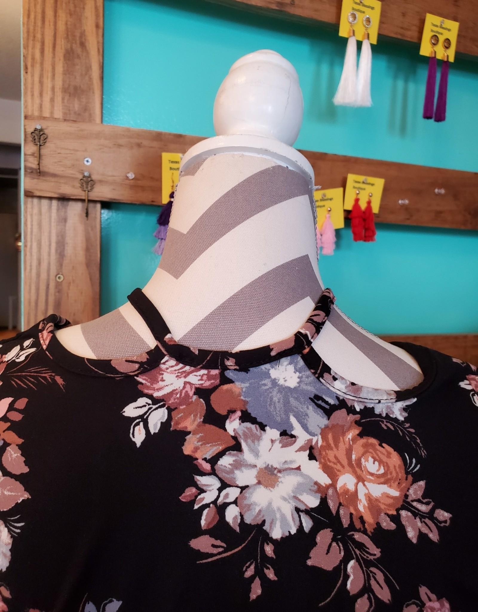 Froya Floral Brush Print Caged V neck top