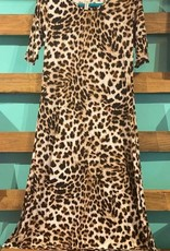 Cr'epas Animal Print Dress With Slit Sides