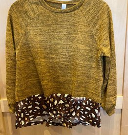 Good Girl Tied Hem Leapard Print Sweater