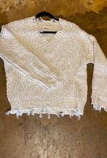 Adora Distressed Frayed Hem Sweater
