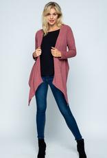 Twenty Second Long Sleeve Knit Cardigan W/Woven Contrast