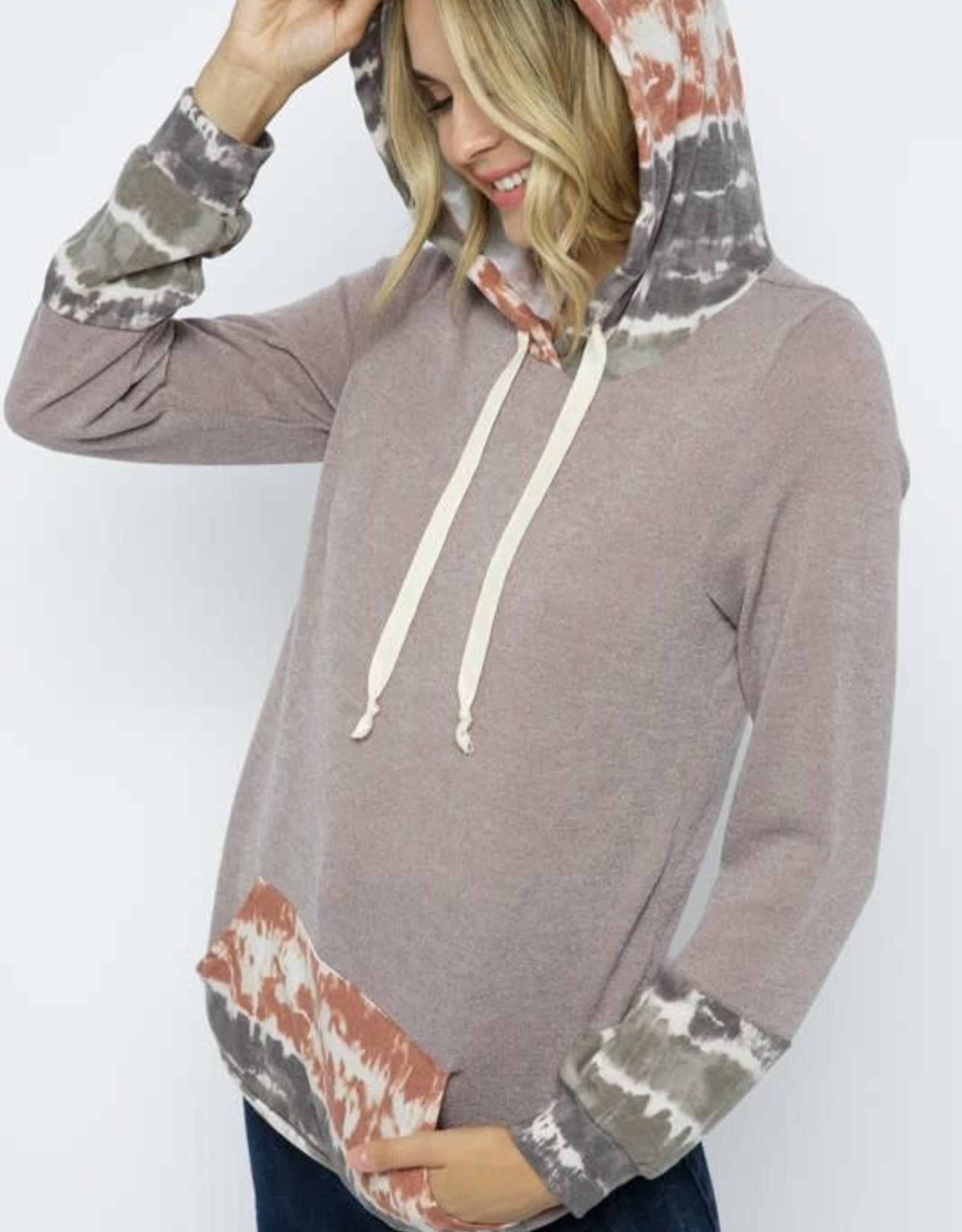 Twenty Second Tie-Dye Contrast Hoodie With Front Pocket