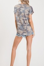 Moonshot caged camo print self tie knot SS  top